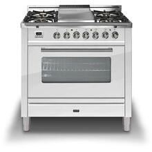See Details - Professional Plus 36 Inch Gas Liquid Propane Freestanding Range in White with Chrome Trim