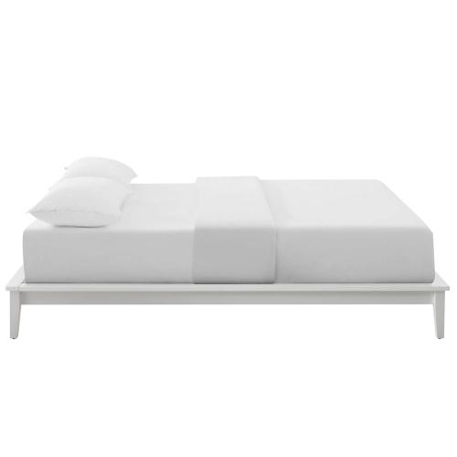 Lodge Queen Wood Platform Bed Frame in White