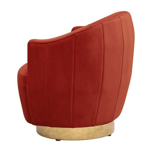 Channel Tufted Swivel Accent Chair in Papaya Orange