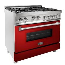 ZLINE 36 in. Professional Gas on Gas Range in Stainless Steel with Red Gloss Door (RG-RG-36)