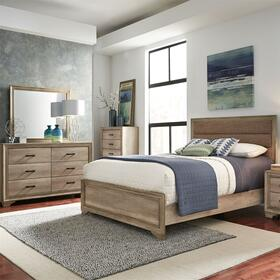 King Uph Bed, Dresser & Mirror, Night Stand