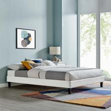 Reign King Performance Velvet Platform Bed Frame in Light Gray