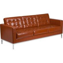 HERCULES Lacey Series Contemporary Cognac LeatherSoft Sofa with Stainless Steel Frame