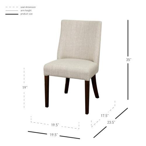 Product Image - New Paris Fabric Dining Side Chair Dark Brown Legs, Rice