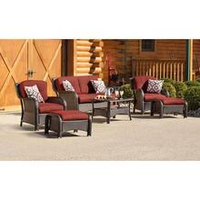Hanover Strathmere 6-Piece Lounge Set In Crimson Red, STRATHMERE6PCRED