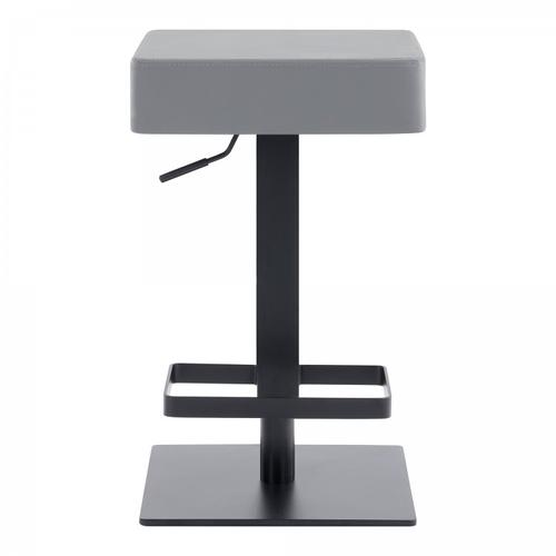 Kaylee Contemporary Swivel Barstool in Matte Black Finish and Grey Faux Leather