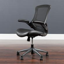 See Details - Desk Chair with Wheels  Swivel Chair with Mid-Back Black Mesh and LeatherSoft Seat for Home Office and Desk