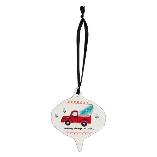 """4""""x 0.25""""x 4.75"""" White Jubilant Ornament (Truck Option)"""