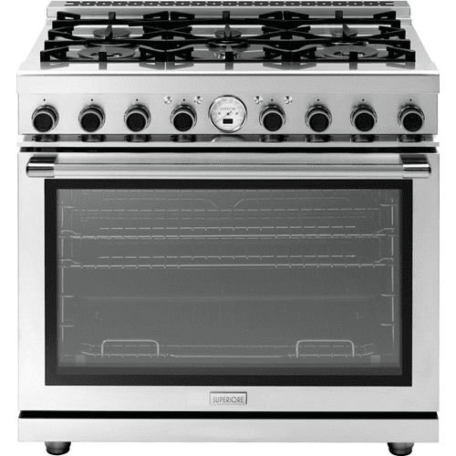 """Superiore - Range NEXT 36"""" Panorama Stainless steel 6 gas, electric oven, self-clean"""