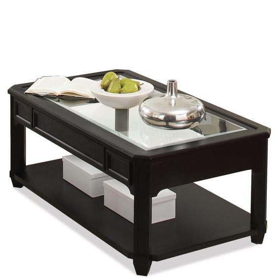 Riverside - Farrington - Rectangular Glass Top Coffee Table - Black Forrest Birch Finish