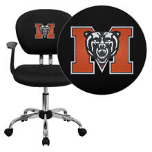 Mercer University Bears Embroidered Black Mesh Task Chair with Arms and Chrome Base