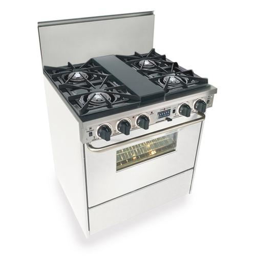 """Five Star - 30"""" Dual Fuel, Convect, Self Clean, Open Burners, White"""