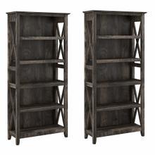 See Details - 5 Shelf Bookcase Set, Dark Gray Hickory