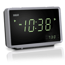 AM/FM clock radio with dual display