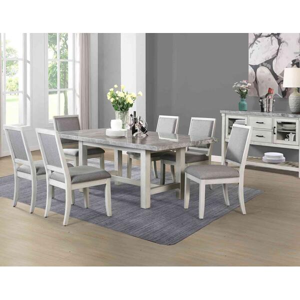 See Details - Canova 5-Piece Gray Marble Dining Set (Table & 4 Side Chairs)