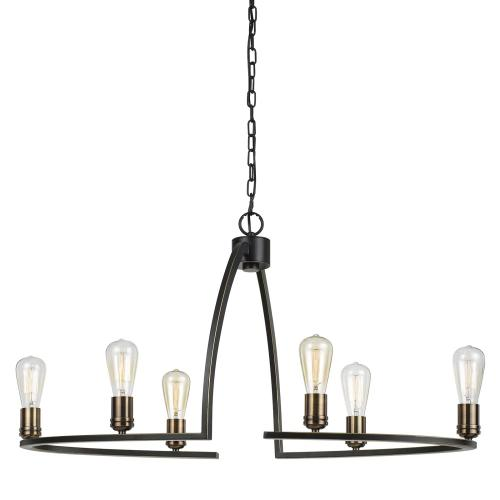 60W X 6 Kinder Metal 6 Light Chandelier (Edison Bulbs Not included)