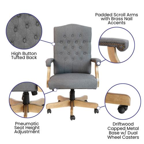 Gallery - Gray Fabric Classic Executive Swivel Office Chair with Driftwood Arms and Base