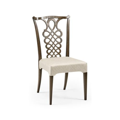 Buckingham Bleached Mahogany Dining Side Chair with Ribbon Back, Upholstered in Skipper
