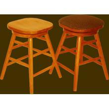 See Details - Solid Oak Backless Swivel Straightleg Barstool