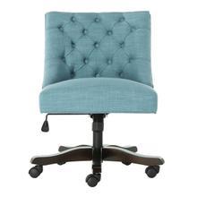See Details - Soho Tufted Linen Swivel Desk Chair - Light Blue