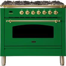 Nostalgie 36 Inch Dual Fuel Natural Gas Freestanding Range in Emerald Green with Brass Trim