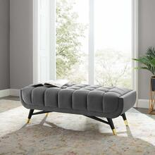 "Adept 47.5"" Performance Velvet Bench in Gray"