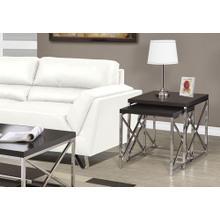 NESTING TABLE - 2PCS SET / ESPRESSO WITH CHROME METAL