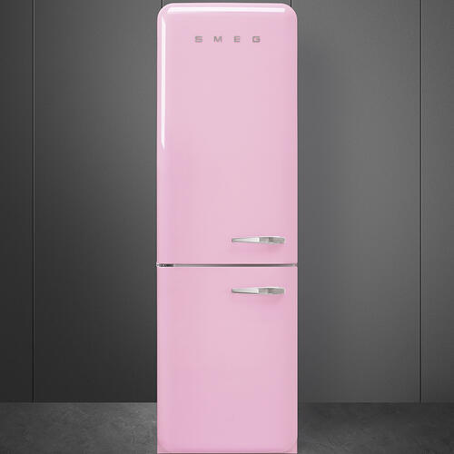 """Approx 24"""" 50'S Style refrigerator with automatic freezer, Pink, Left hand hinge"""