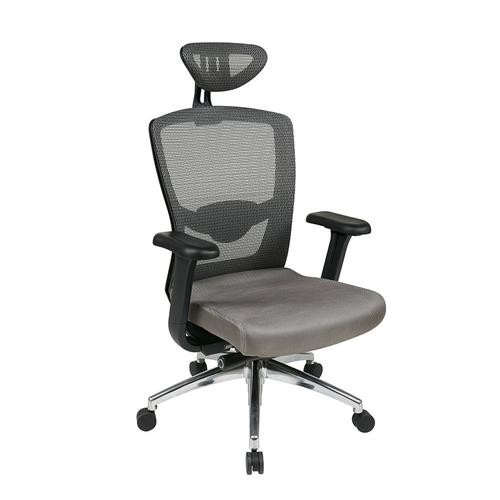 Grey Progrid® High Back Chair With Headrest