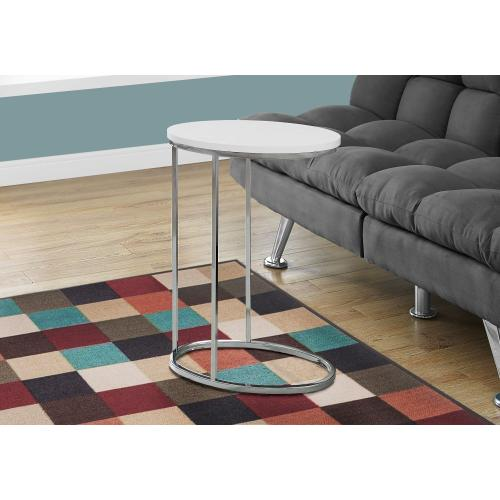 ACCENT TABLE - OVAL / GLOSSY WHITE WITH CHROME METAL