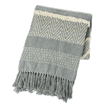Grey and Natural Vertical Stripe Woven Throw