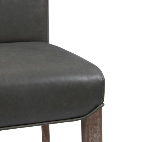 Beverly Hills Bonded Leather Chair Drift Wood Legs, Vintage Gray