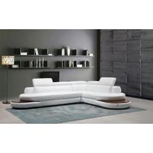 Divani Casa Killian Modern White Italian Leather Sectional Sofa