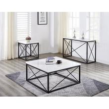See Details - Skyler White Marble Top Square Cocktail Table Black 36x36x18