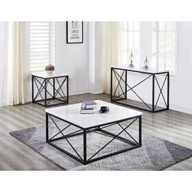Skyler White Marble Top Square Cocktail Table Black 36x36x18