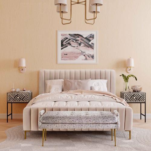 Tov Furniture - Eileen Terrazzo Velvet Bench