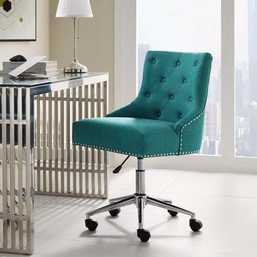 Regent Tufted Button Swivel Upholstered Fabric Office Chair in Teal