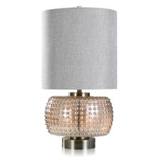 See Details - SEBASTIAN TABLE LAMP  Champagne Finish on Glass with Pewter Metal Base  Hardback Shade