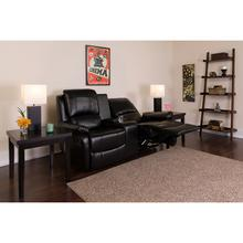 See Details - Allure Series 2-Seat Reclining Pillow Back Black LeatherSoft Theater Seating Unit with Cup Holders