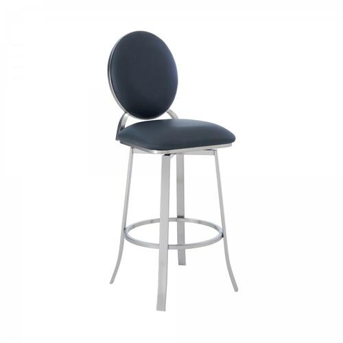 "Pia Contemporary 30"" Bar Height Barstool in Brushed Stainless Steel Finish and Grey Faux Leather"