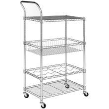 See Details - Carmen 4 Tier Chrome Wire Adjustable Cart - Chrome