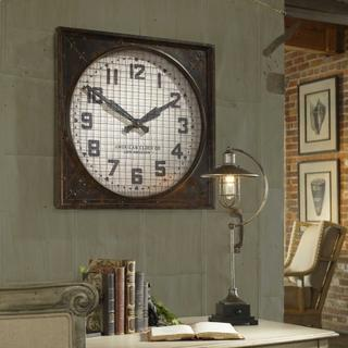 See Details - Warehouse Wall Clock with Grill