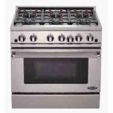 "Brushed Stainless Steel 36"" Prof. Gas Range"