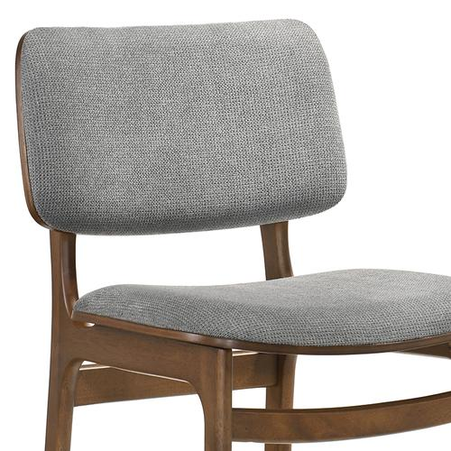 Lima Grey Upholstered Wood Dining Chairs in Walnut Finish - Set of 2