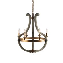 6-Light Chandelier with Burnished Brass Accents