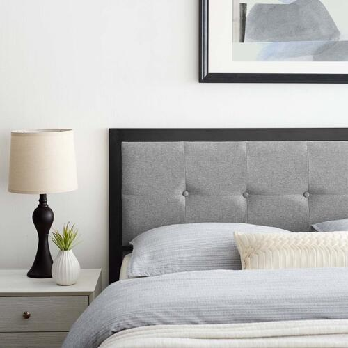 Teagan Tufted Queen Headboard in Black Light Gray