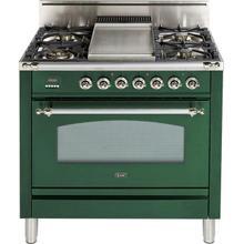 Nostalgie 36 Inch Gas Liquid Propane Freestanding Range in Emerald Green with Chrome Trim