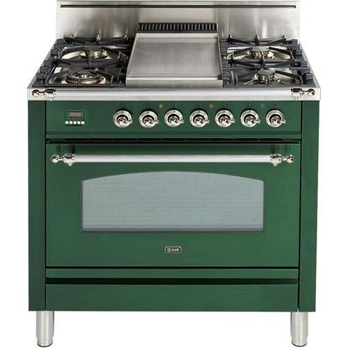 Ilve - Nostalgie 36 Inch Gas Liquid Propane Freestanding Range in Emerald Green with Chrome Trim