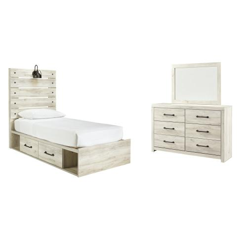 Twin Panel Bed With 4 Storage Drawers With Mirrored Dresser