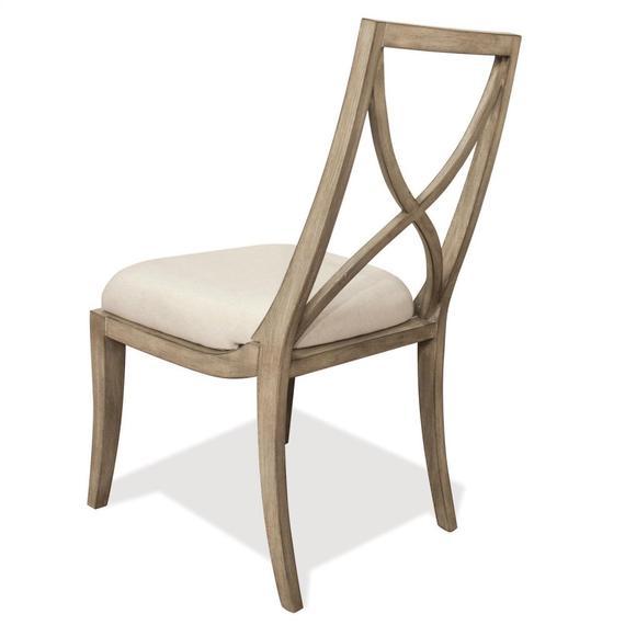 Riverside - Sophie - X-back Upholstered Side Chair - Natural Finish